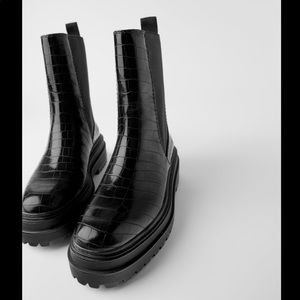 NWT Zara Animal print leather boots